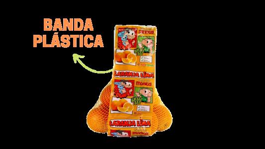 Imagem indicando a Banda Plástica com estampa da Turma da Mônica utilizada na produção